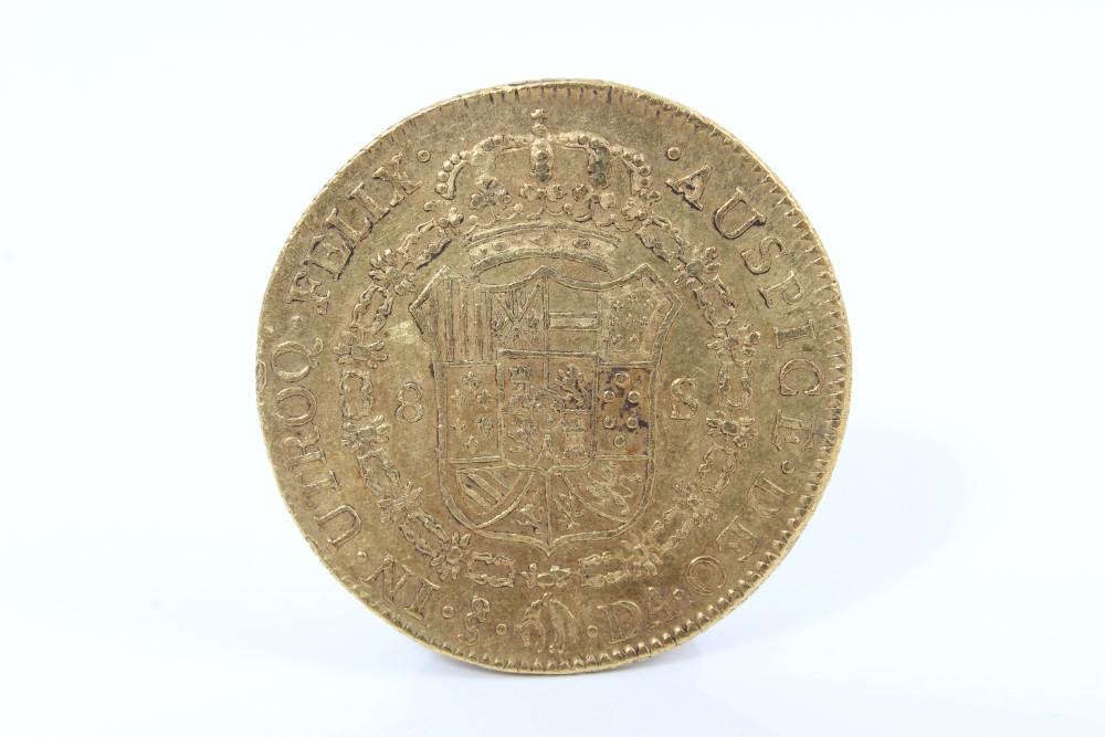 Lot 1 - Chile - gold Charles IV 8 Escudos m/m SO - Santiago 1792 DA.