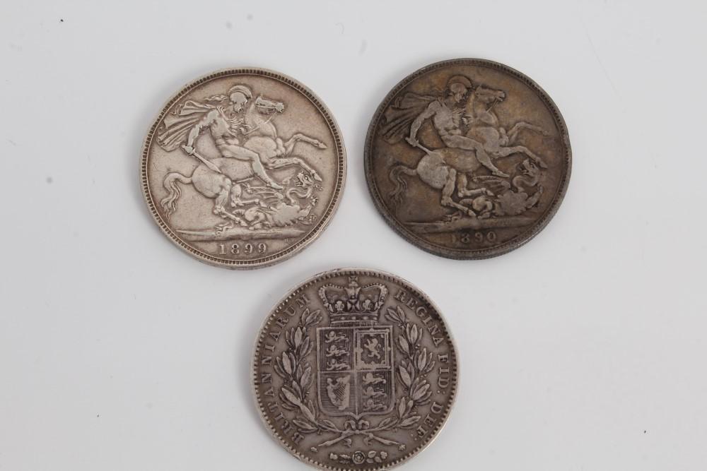 Lot 24 - G.B. silver Crowns Victoria Y.H. 1845. AF / GF, J.H. 1890. VG / AF and O.H. 1899 LXIII.