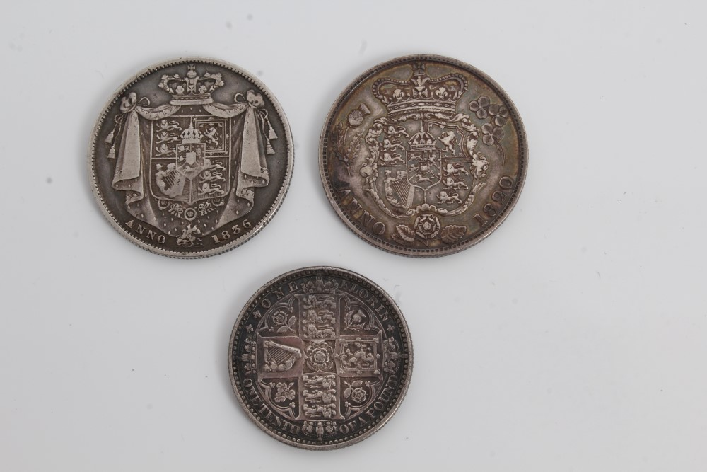 Lot 21 - G.B. mixed silver coinage - to include Half Crowns George IV 1820. AVF, William IV 1836.