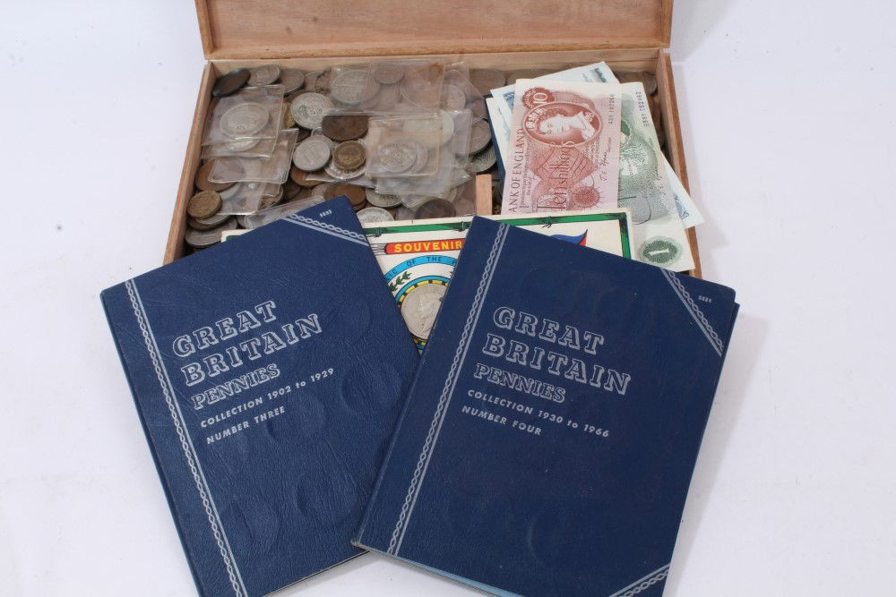 Lot 46 - G.B. mixed coinage and banknotes - to include Victoria J.H. Crown 1890.