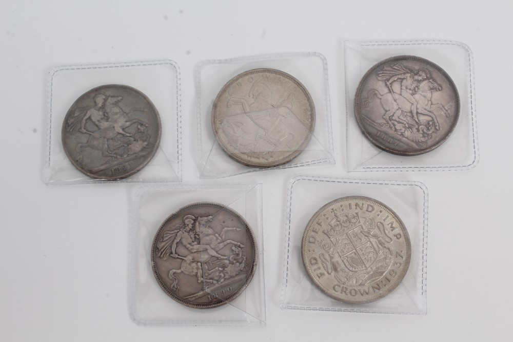 Lot 17 - G.B. mixed silver Crowns - to include George IV 1821. VG / AF, Victoria J.H. 1887.