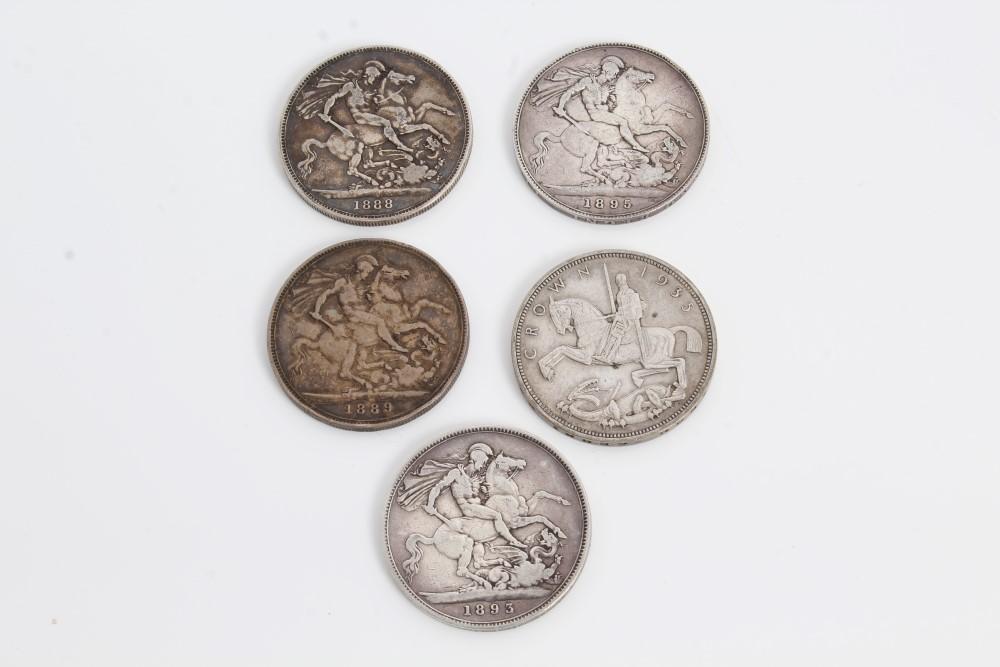 Lot 40 - G.B. mixed Crowns - to include Victoria J.H. 1888. AF, 1889. AF, O.H. 1893 LVII. VG, 1895 LIX.
