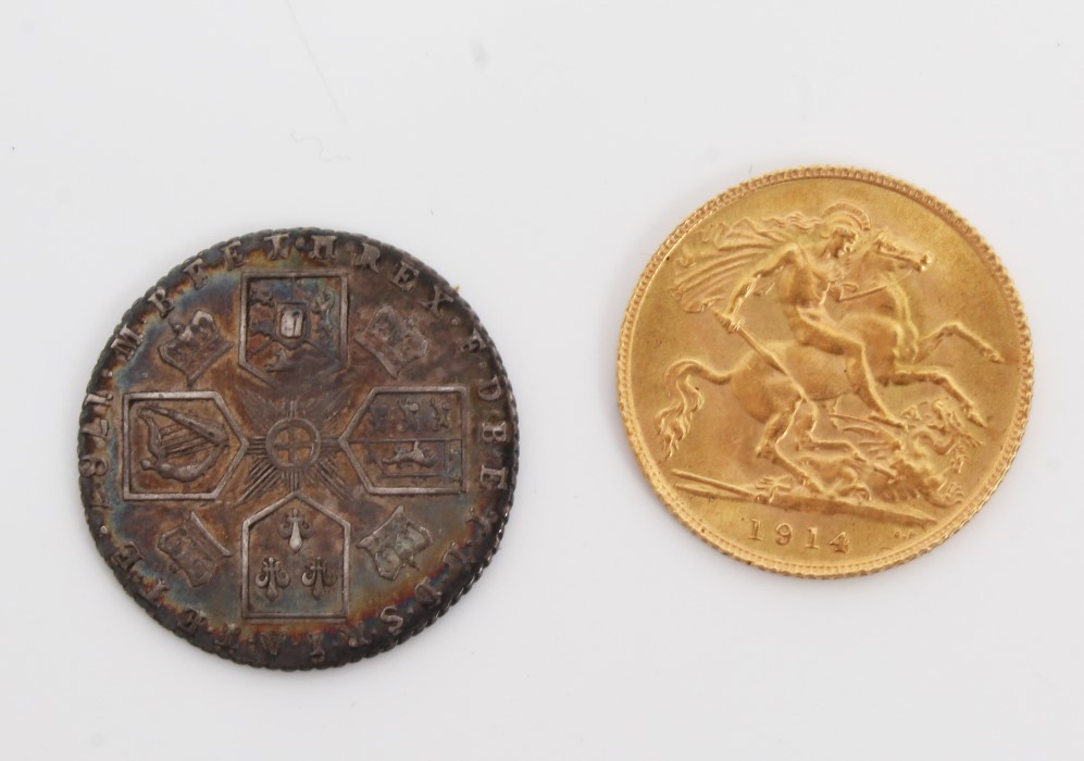 Lot 45 - G.B. mixed coins - to include George V 1914 gold Half Sovereign.