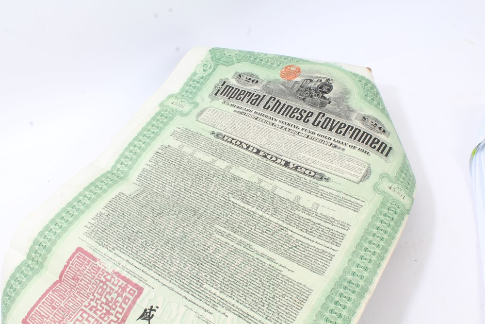 Lot 52 - World - Share / Bond certificates - to include £20 Imperial Chinese Government 5% Hukuang Railways