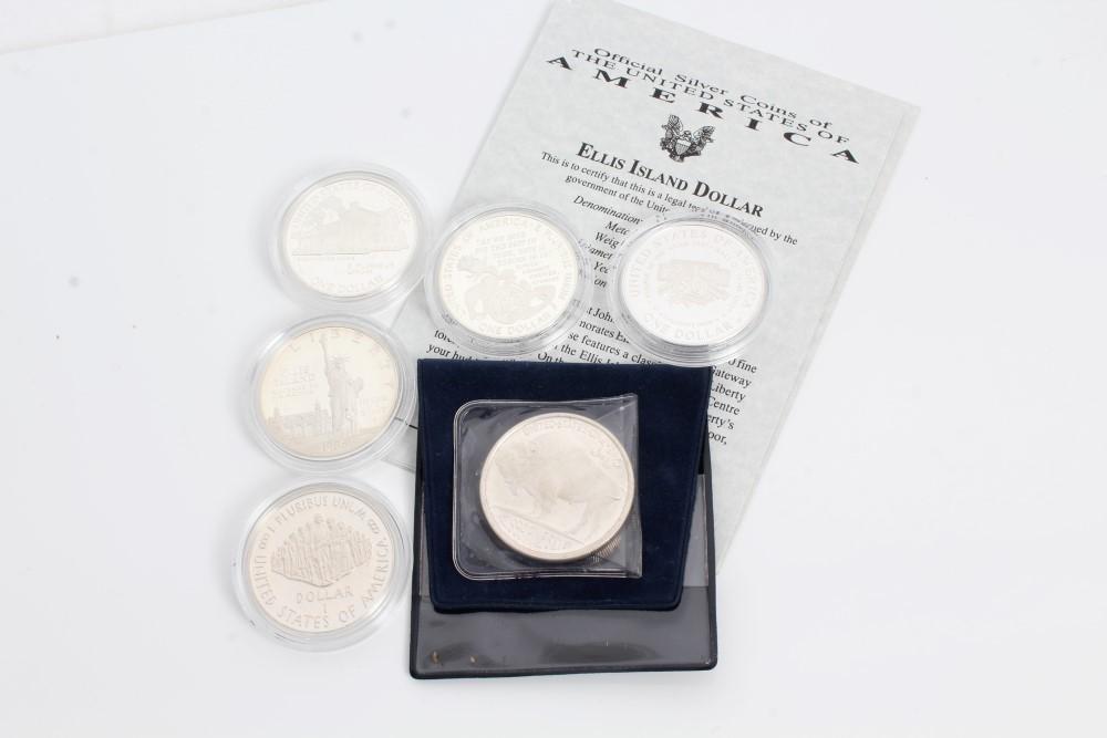 Lot 31 - U.S. silver Dollars - Ellis Island 1986S. UNC, Constitution 1987S.