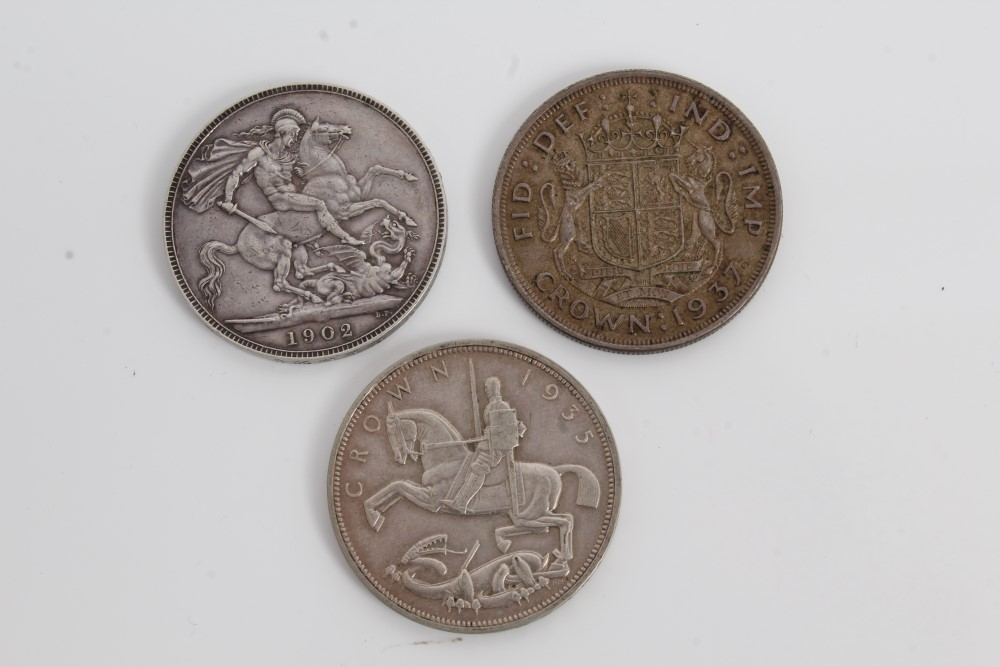 Lot 25 - G.B. mixed silver Crowns Edward VII 1902. AVF, George V 1935. AEF and George VI 1937.