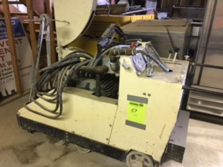 Target Electric Walk behind concrete saw. Baldor 40 hp motor. Condition unknown. 862 hours listed.