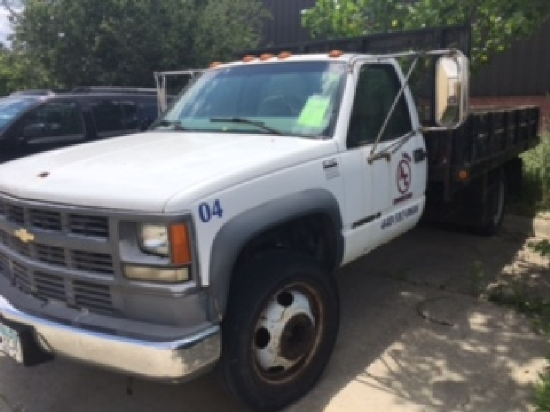 "1999 Chevy 3500 HD Stake Body Truck (6.5 diesel, 94007 miles, 12'x8' bed, 16"" rails, hitch)"