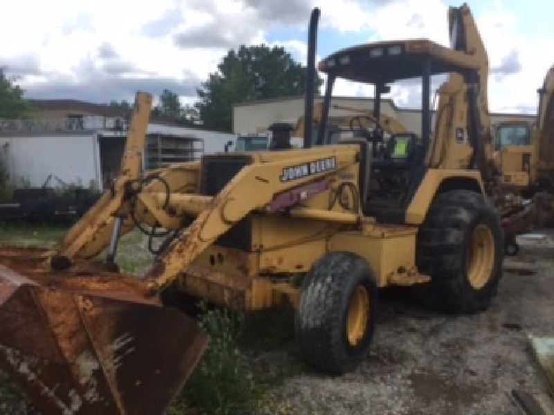 John Deere 510D backhoe. 4418 hours listed. Turbo diesel. Equipment ID# TO510DB815432