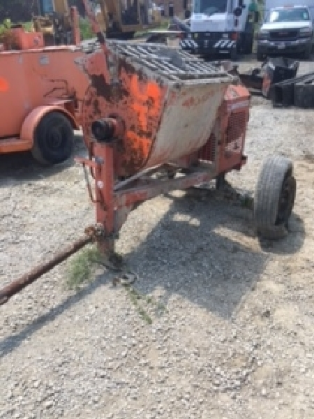 Whiteman MQ concrete mortar mixer. Honda 8hp motor. Needs tires. Runs.