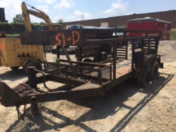 "11'3"" x 6'4"" steel form trailer. Tandem mobile home axles. Removable cross members for machinery..."