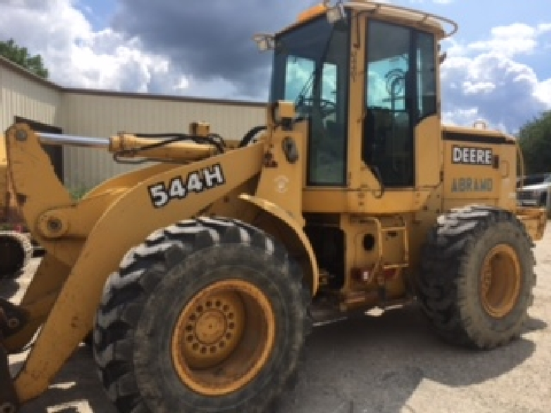 John Deere 544H Loader, diesel, 9969 hours, serial# DW544HX563291),(NO FORKS- comes with JRB Bucket)
