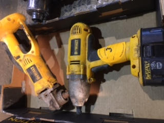 "Dewalt 18v cordless Grinder and 1/2"" impact. 1 battery"