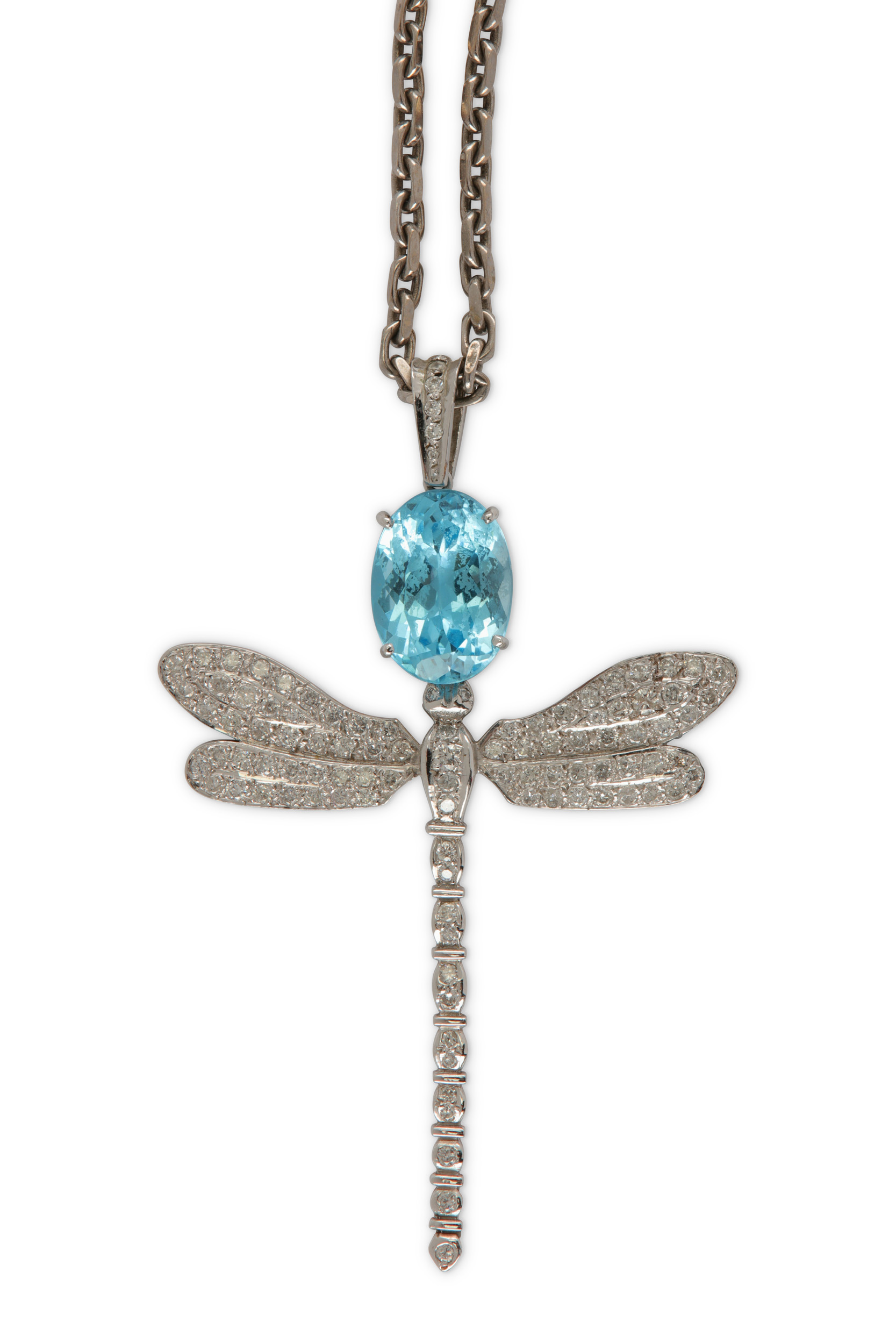 Lot 33 - A blue topaz and diamond dragonfly pendant necklace