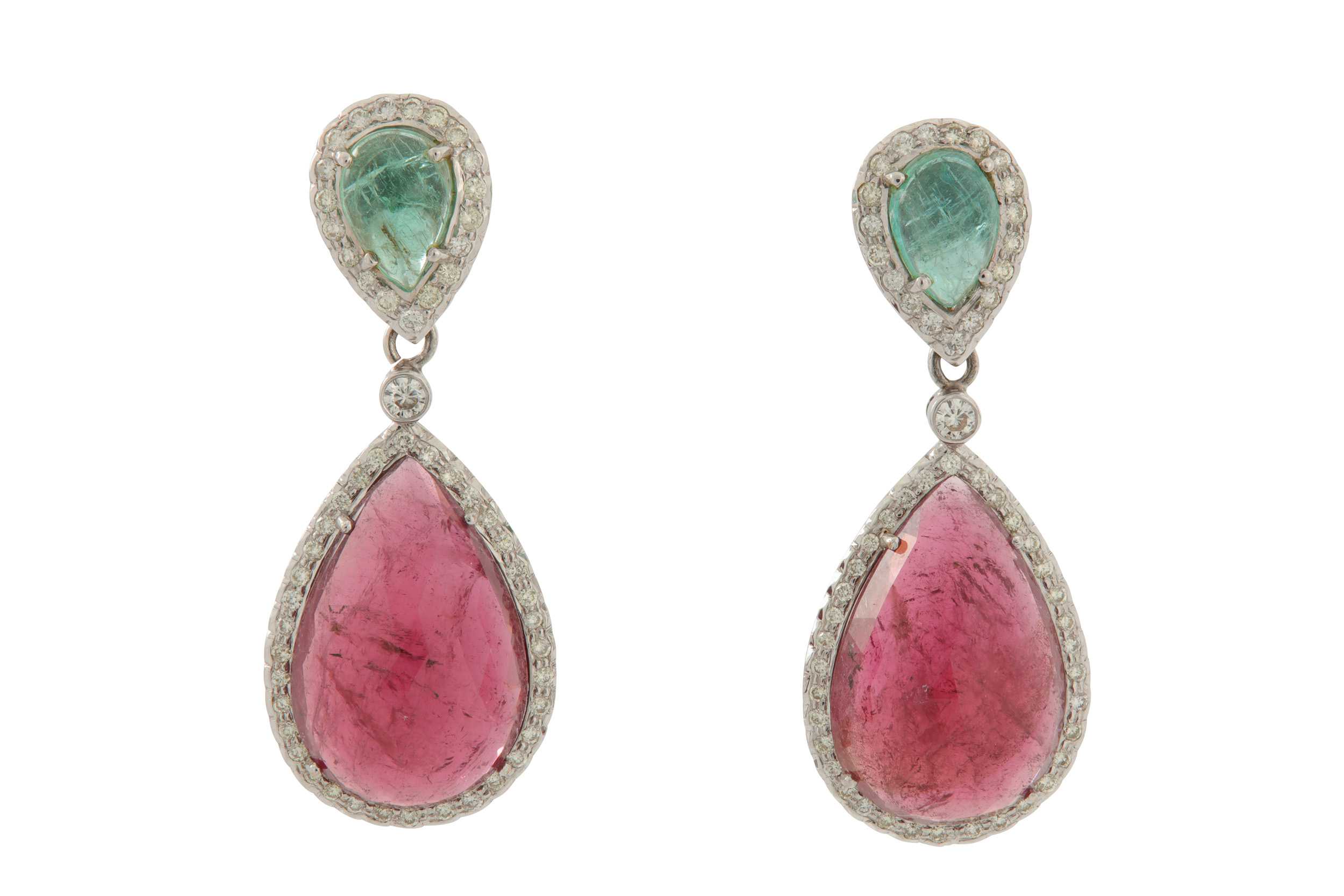 Lot 43 - A pair of emerald, tourmaline and diamond pendent earrings