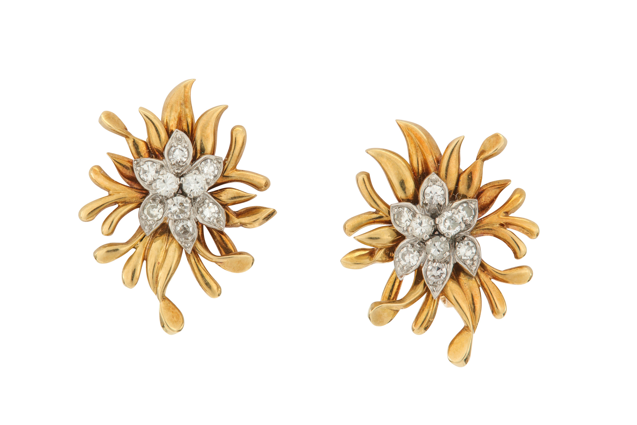 Lot 37 - A pair of diamond earclips, by Chaumet