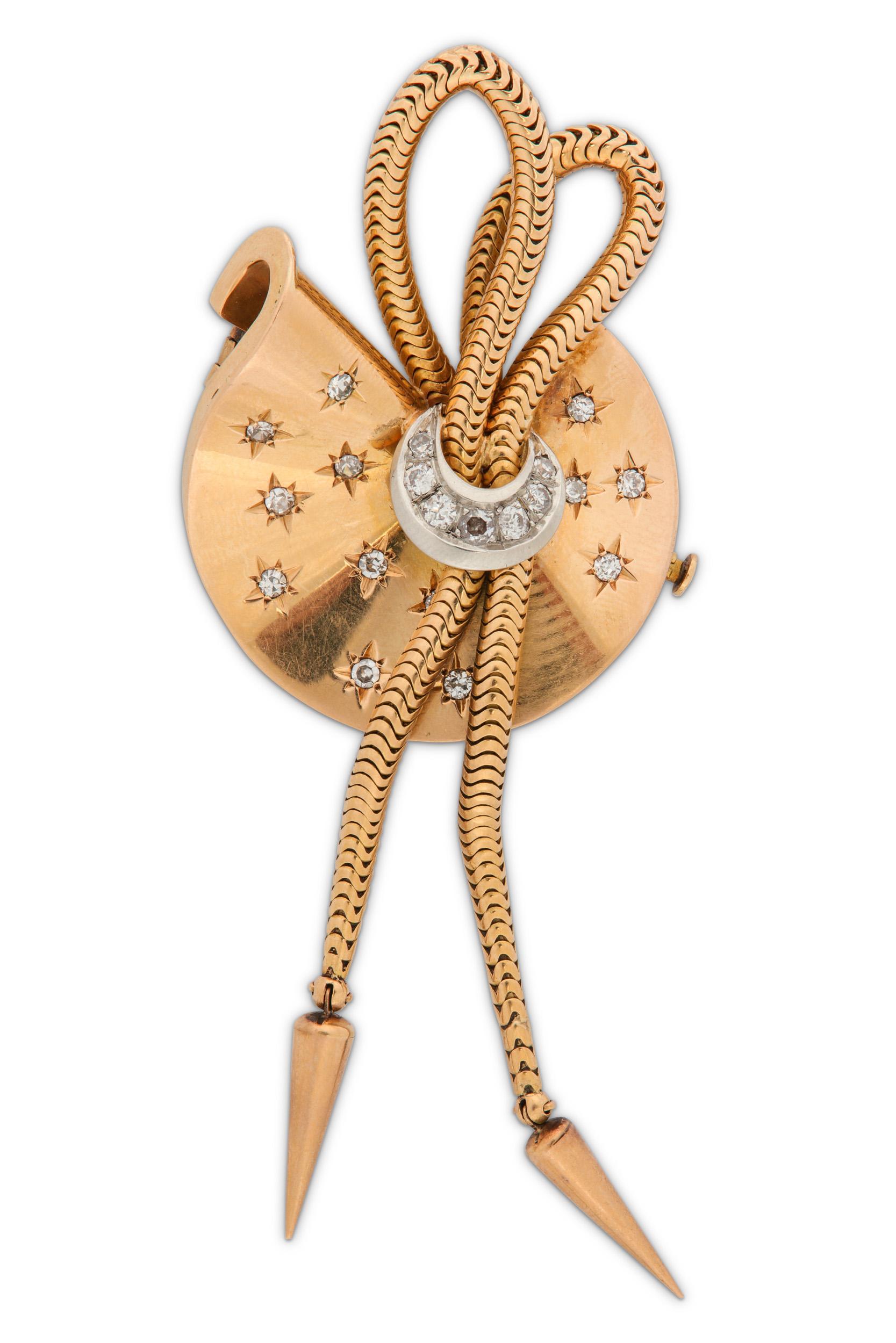 Lot 18 - A diamond tassel brooch, circa 1940