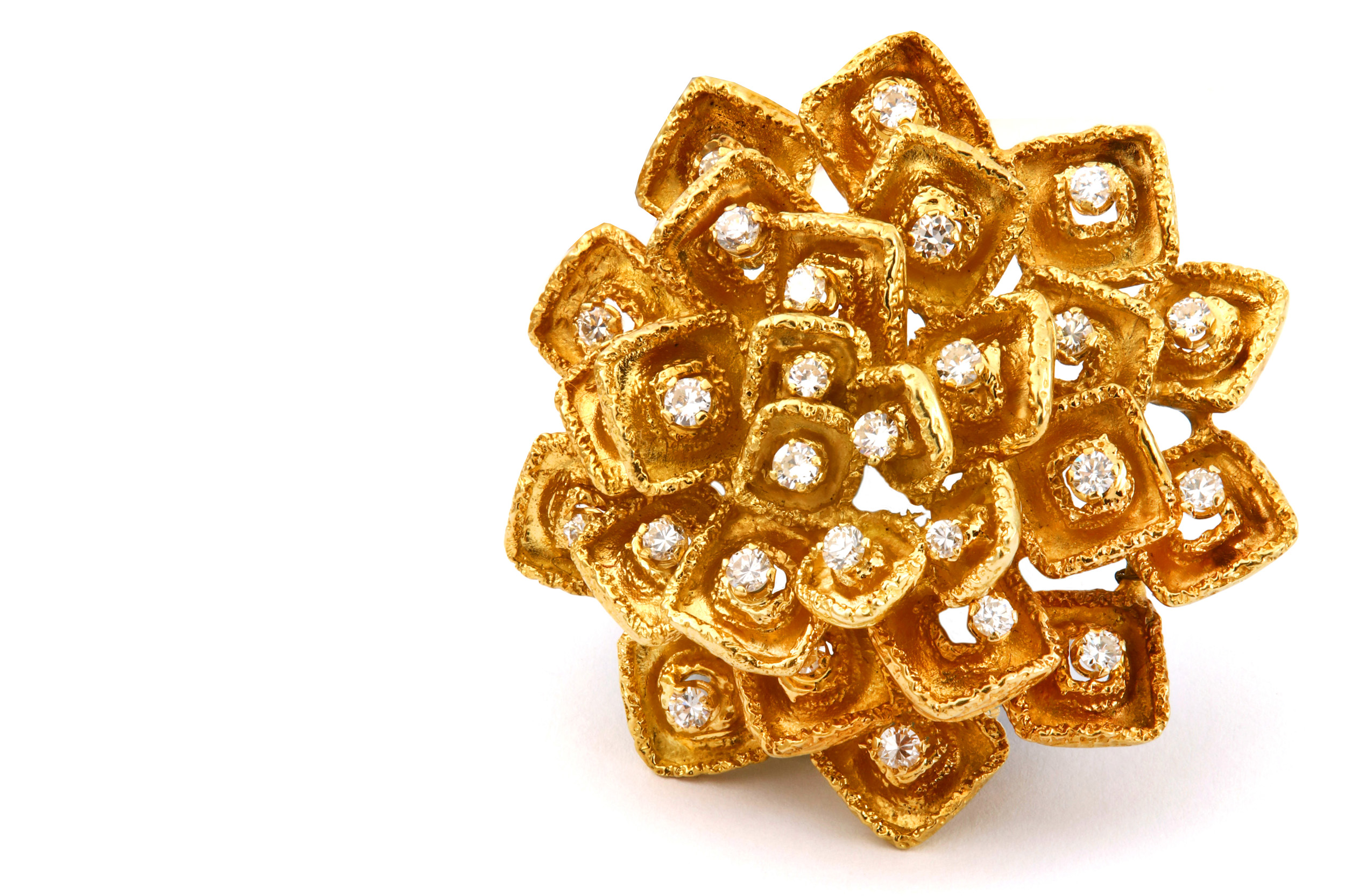 Lot 36 - A gold and diamond brooch, by Ben Rosenfeld, 1969