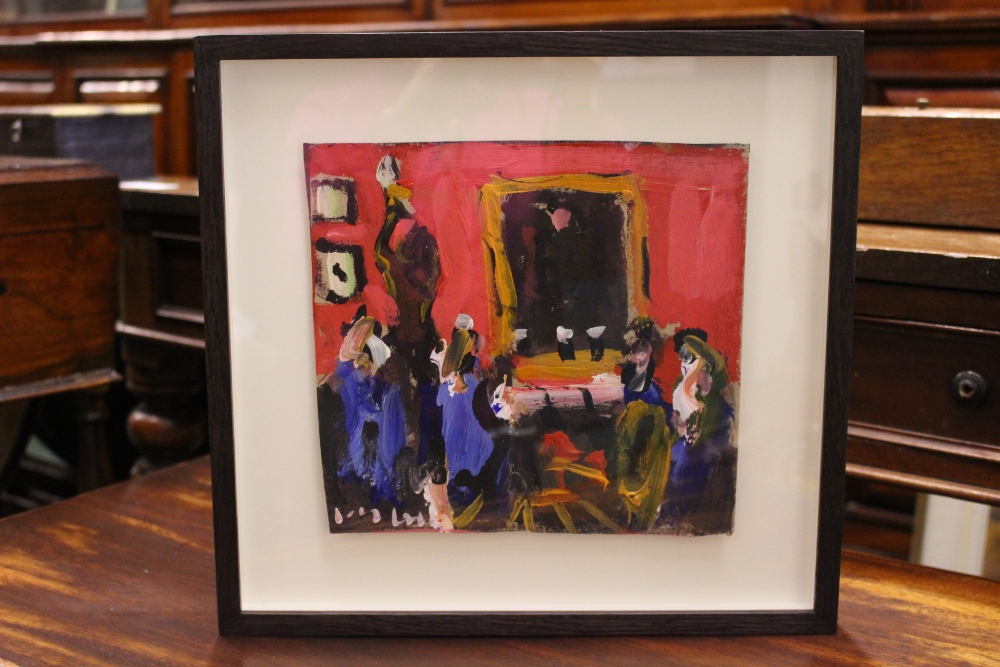 """Lot 59 - MARIE CARROLL, """"A PINT AT THE SHELBOURNE"""", acrylic on card, signed lower left, 9"""" x 8.5"""" approx"""