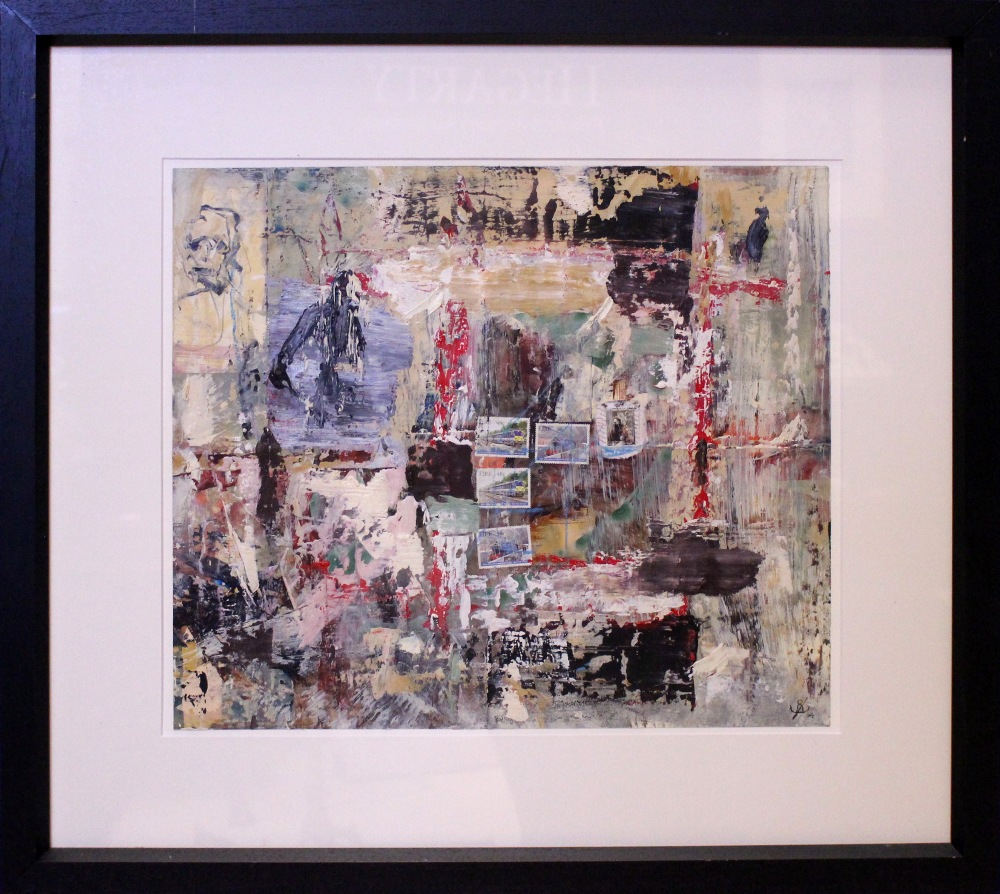 "Lot 22 - JOHN KINGERLEE, (IRISH B. 1936), ""POISED BEFORE ENTRY"", mixed media on card, signed with monogram"