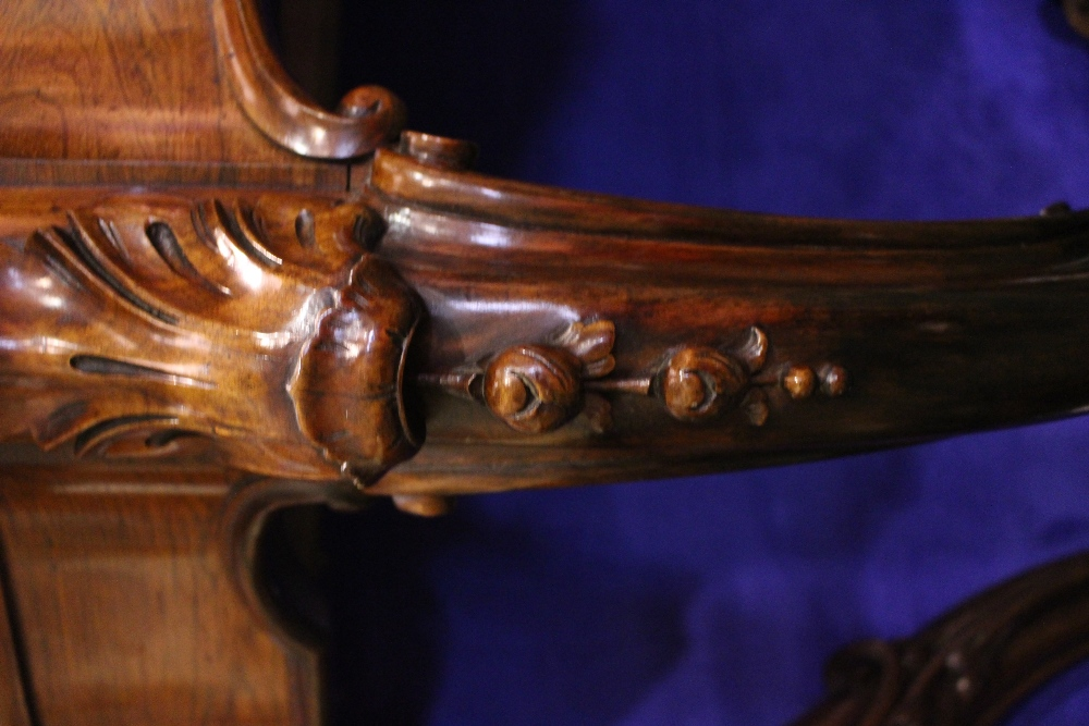 Lot 8 - A VERY FINE ROSEWOOD CARVED CONSOLE TABLE, with scalloped shaped top, which lifts to reveal lined