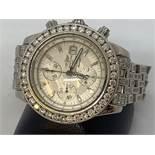 AMAZING BREITLING A13356 DIAMOND SET WATCH - MIN 10.00cts OF DIAMONDS