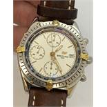 BREITLING CHRONO STEEL & GOLD GENTS WATCH - LEATHER STRAP