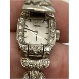 PLAT LADIES DIAMOND SET COCKTAIL WATCH - OMEGA MOVEMENT