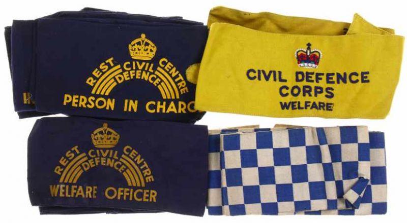 Lot 4487 - Lot Civil Defence armbanden, meest oorlogs met 'Kings Crown''