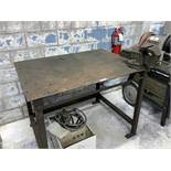 Steel Table with Bench Vise (All Items MUST be Removed by Thursday, December 19, 2019. Buyer is