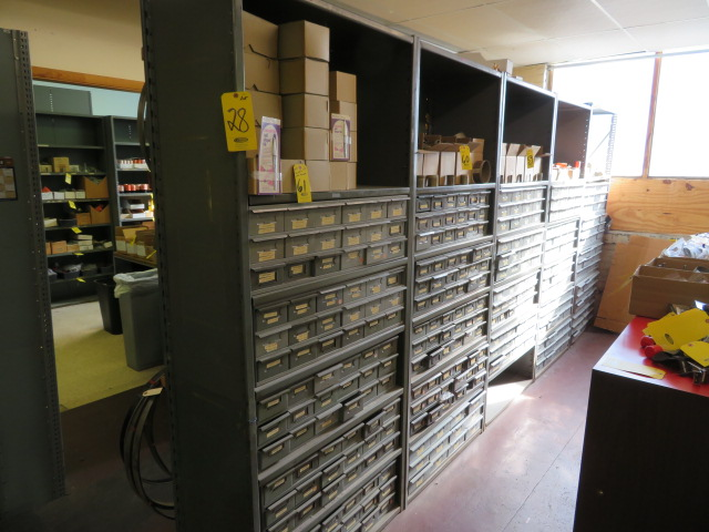 (7) SECTIONS OF STEEL SHELVING W/BINS (NO CONTENTS) - Image 2 of 2