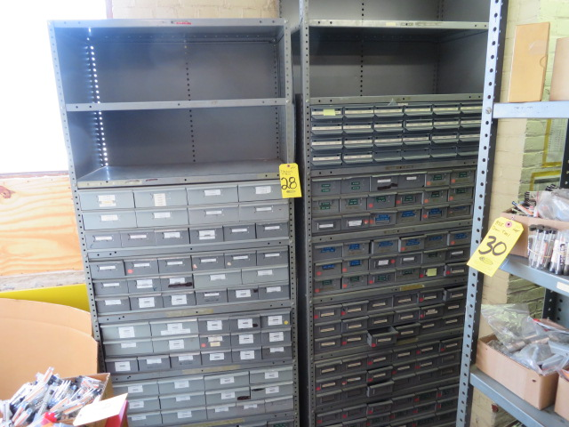(7) SECTIONS OF STEEL SHELVING W/BINS (NO CONTENTS)