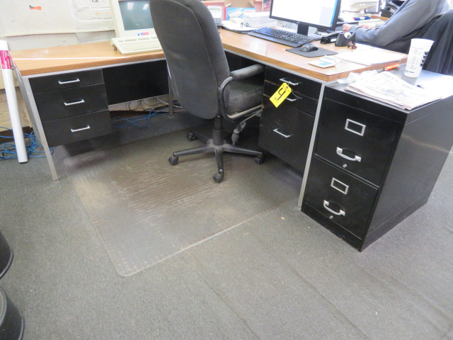 (2) DESKS W/LEFT HAND RETURN & CHAIR