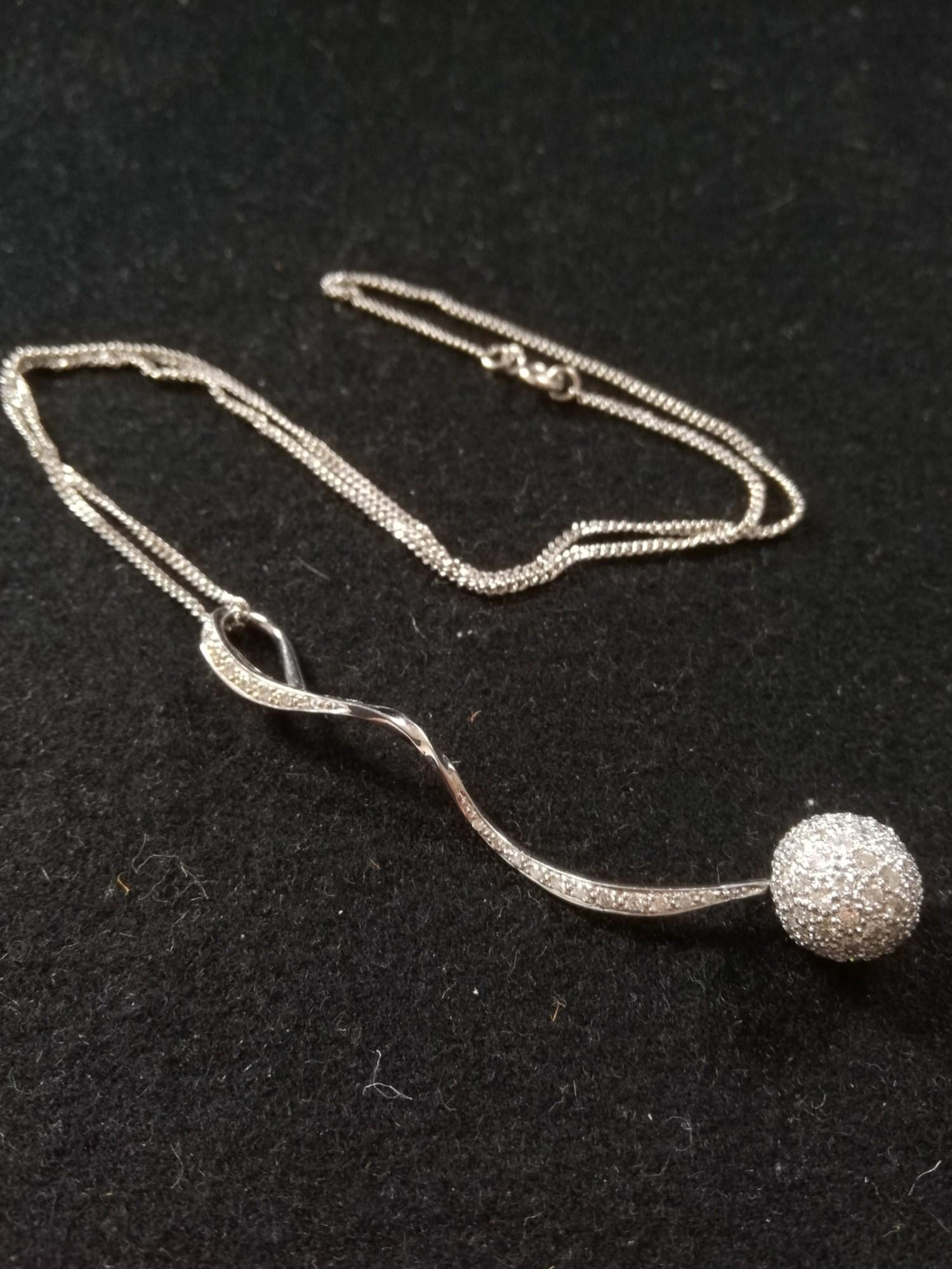18ct Diamond ball pendant and chain
