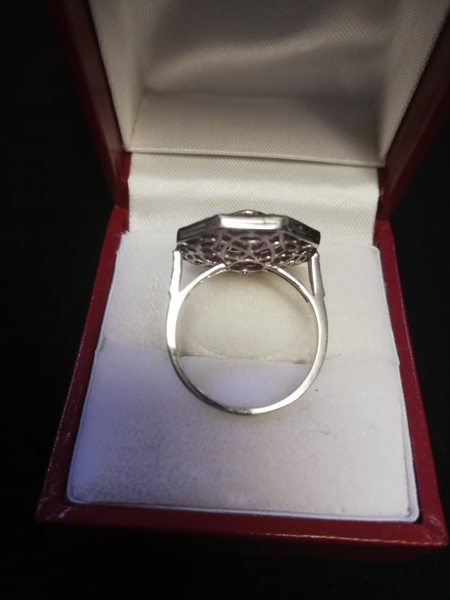 Fine quality octagonal shaped platinum ruby & diamond dress ring set with a central old cut diamond - Image 3 of 4