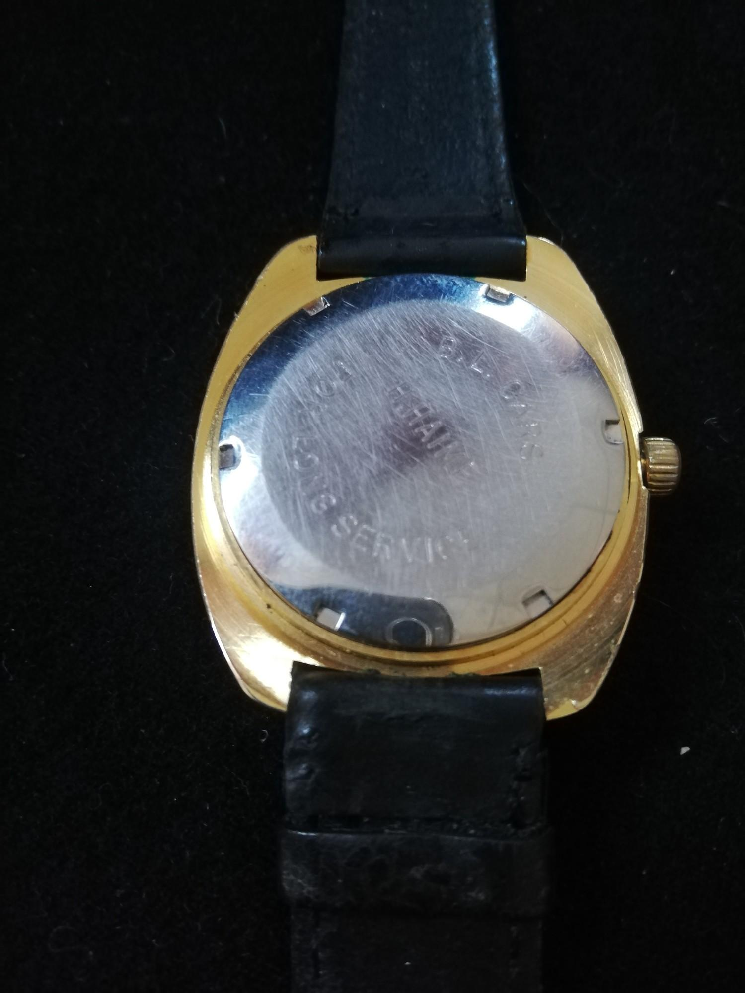 Garrard gold plated wristwatch with automatic movement in worn condition with inscription to back - Image 2 of 2