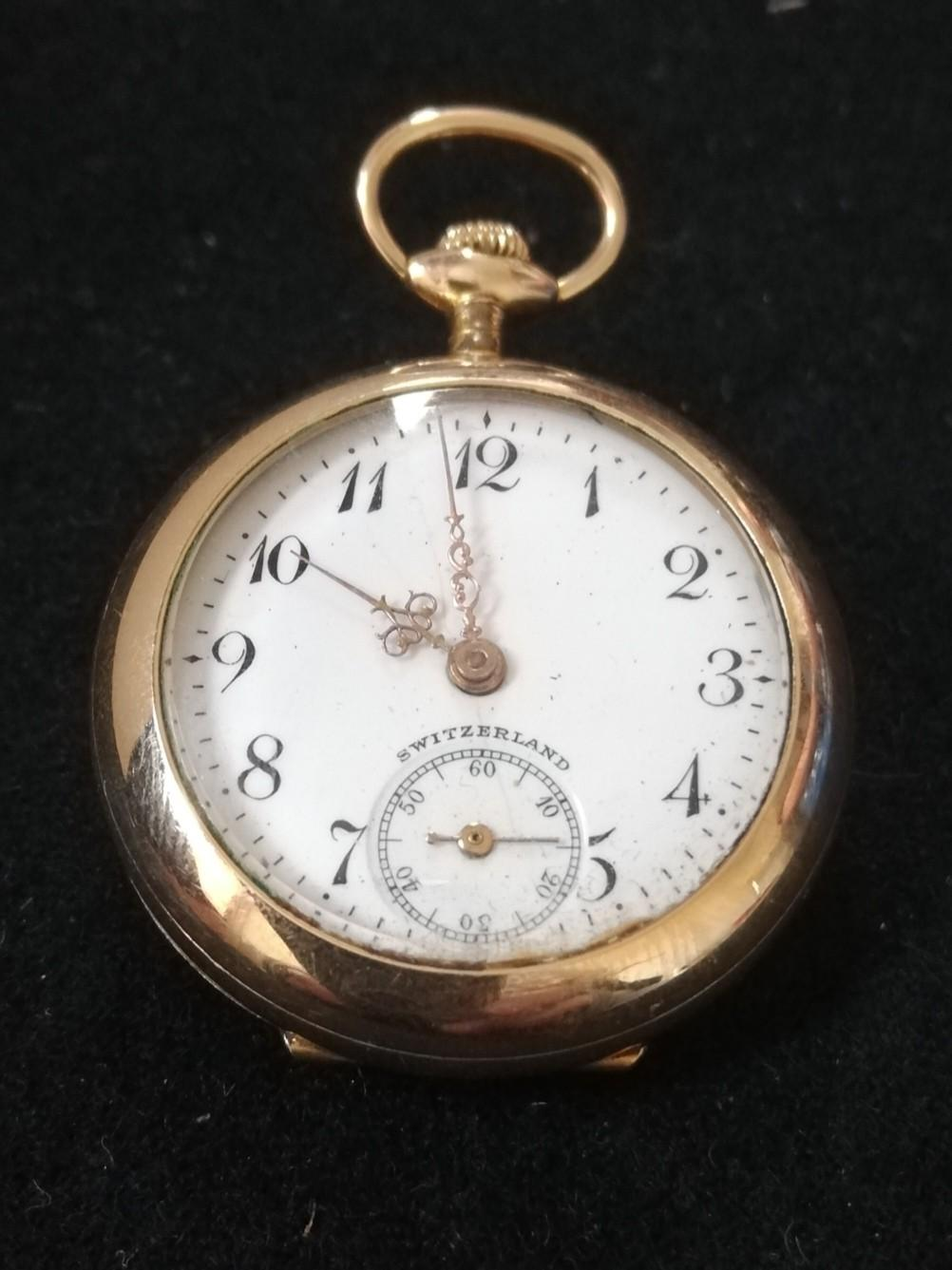 Gold plated ladies fob watch with bird decoration & with diamond set back plate