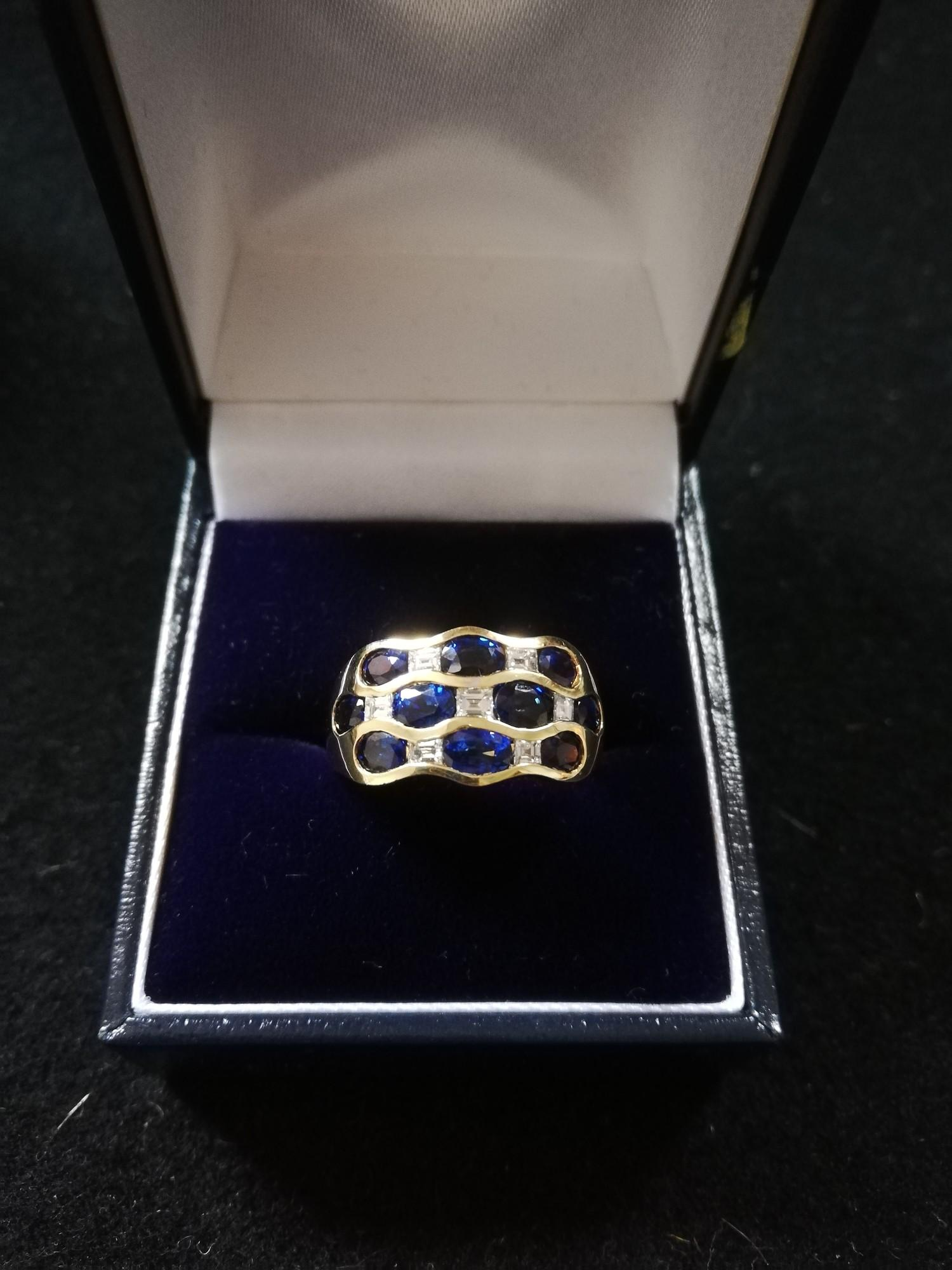 Sapphire and Diamond 18ct 3 row ring