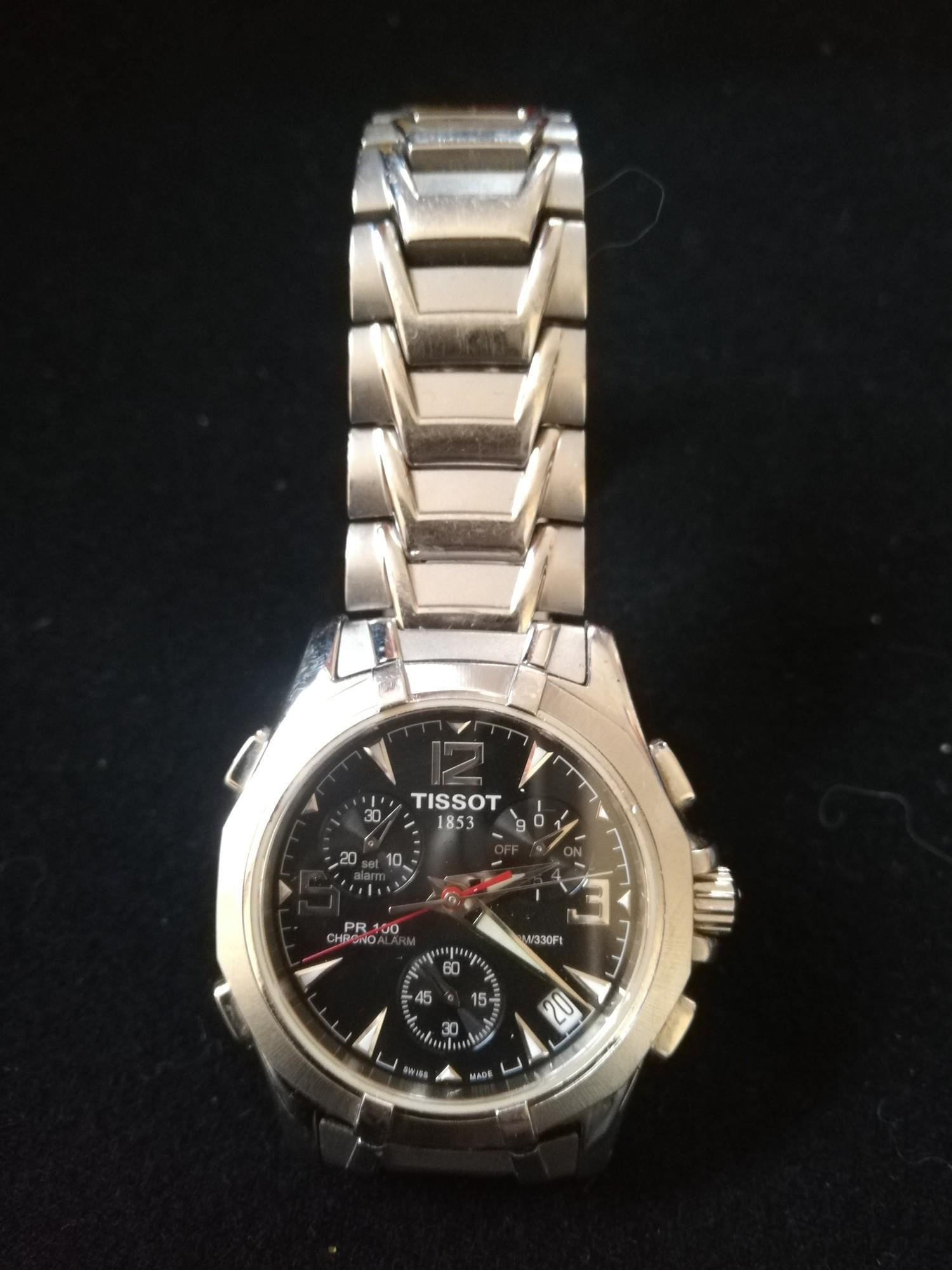 Tissot gents stainless steel PR100 chrono alarm wristwatch -in running order