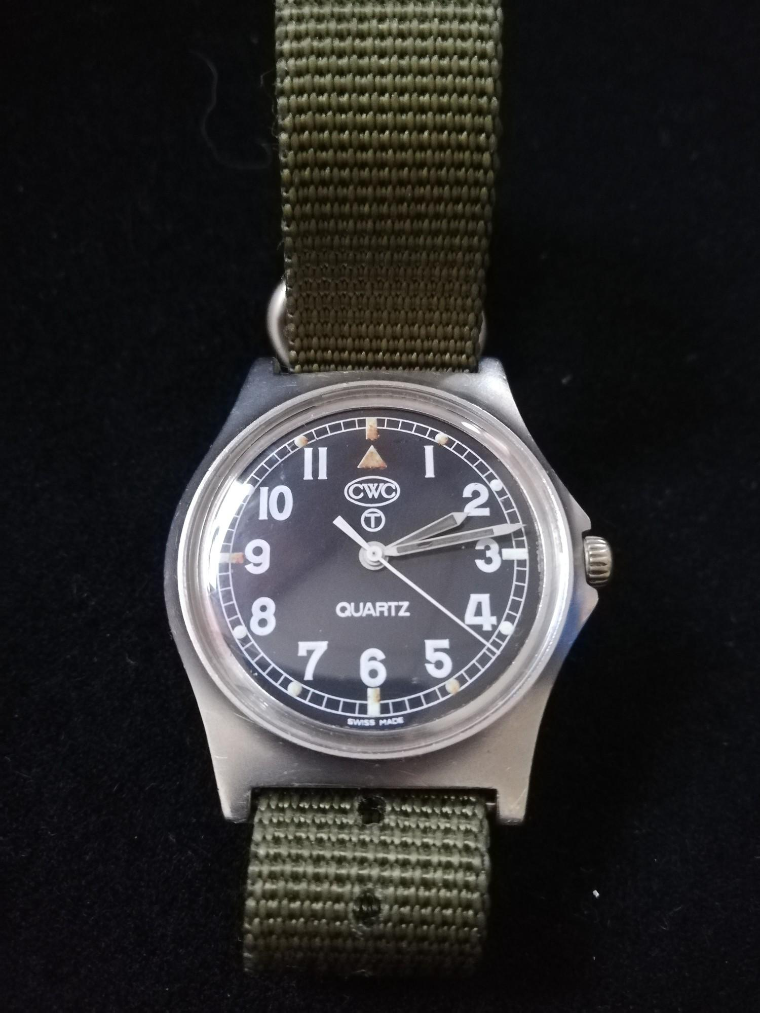 CWC (Cabot Watch Company) military quartz driven watch dated 99 to reverse