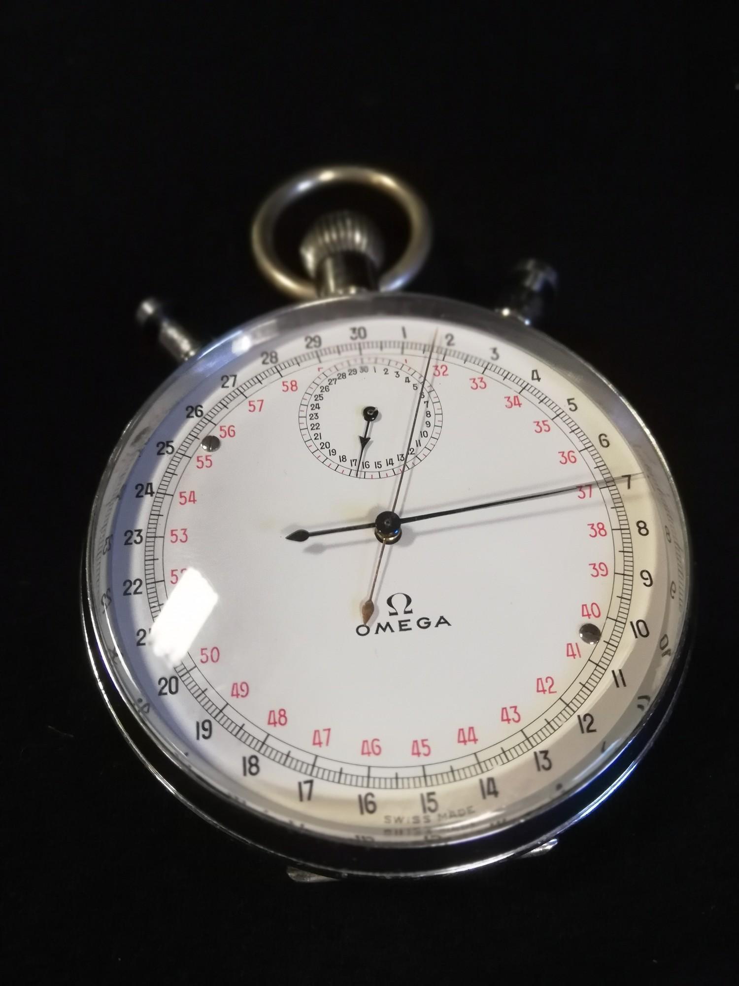 Omega split second stopwatch in chrome case
