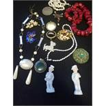 Vintage Jewellery t/w 2 small china figures
