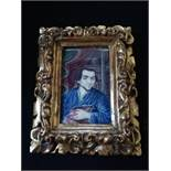 Portrait miniature on ivory in original gilt wood frame of Moses Mendelssohn (1729-86)