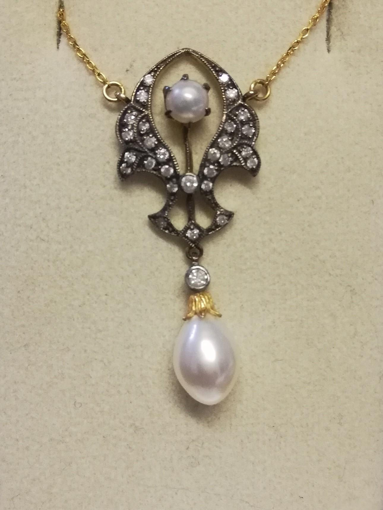 """Art Nouveau style necklace (16"""") set with diamonds and pearls"""