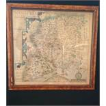 17th century (1607) framed map of (Hampshire) Hamshire - Olim pars belgarum by John Norden