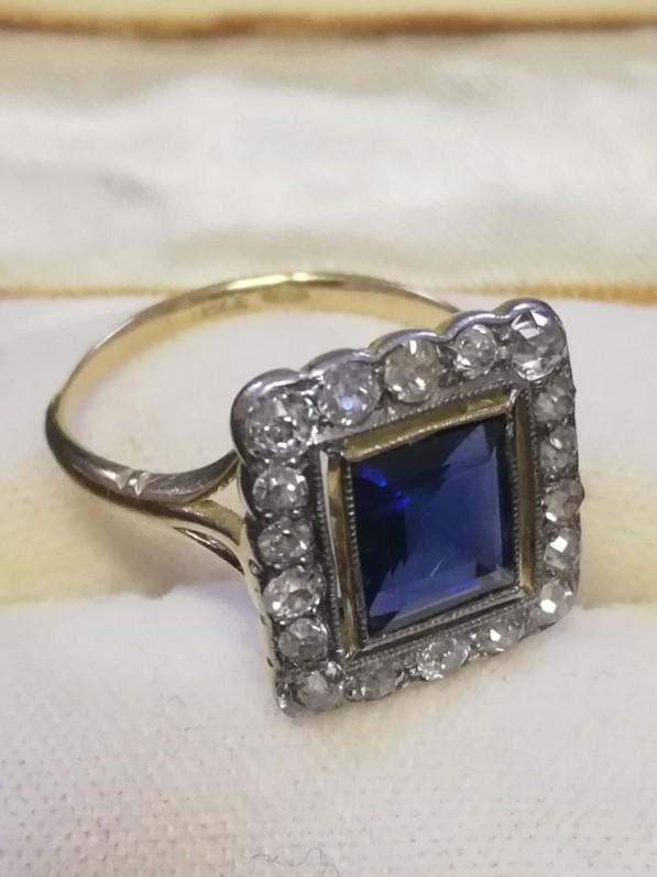 Antique 18ct (unhallmarked) yellow gold square sapphire and old cut diamond ring