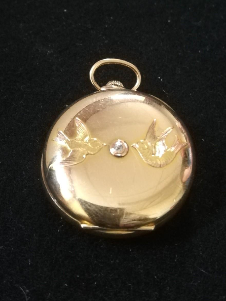 Gold plated ladies fob watch with bird decoration & with diamond set back plate - Image 2 of 2