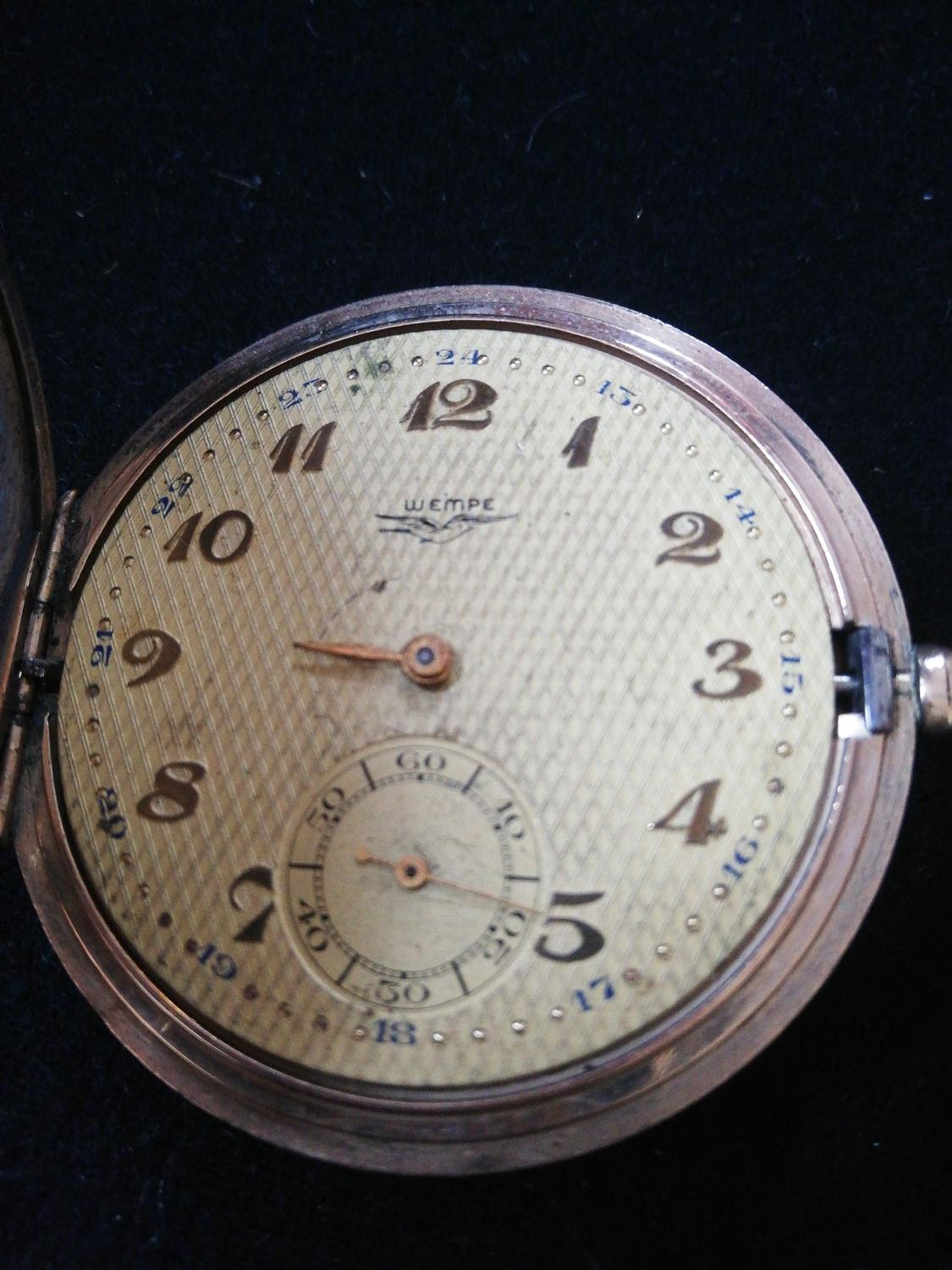 Gold plated German pocket watch by Wempe -a/f running order but lacking minute hand & glass - Image 2 of 3