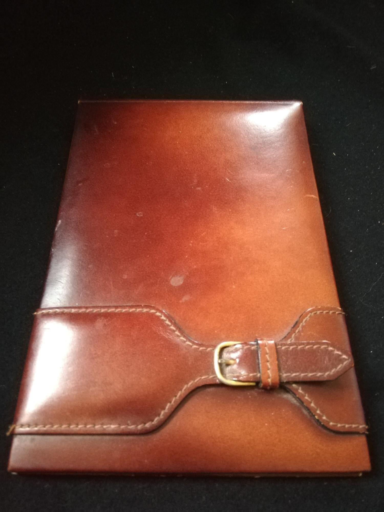 Rolex tan leather desk notebook holder