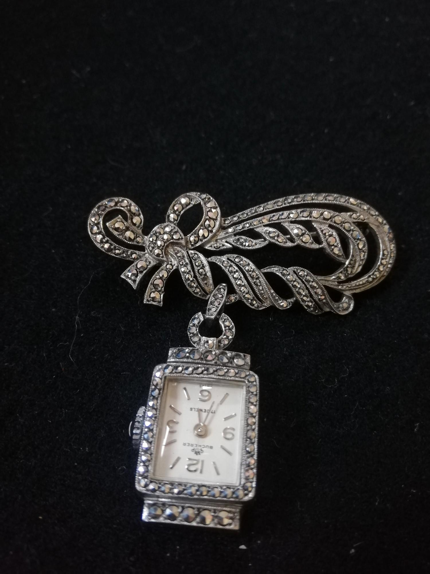 Ladies '800' silver marcasite brooch / watch by Bucherer